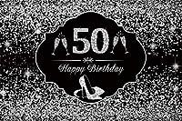 HD シャンパンバースデーバナー写真スタジオの小道具を撮影女シルバーハイヒール女性グリッタースパンコールドットの写真の背景ハッピーバースデー50用シルバー50歳の誕生日の背景10x7ft