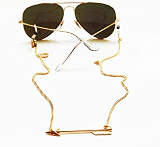 Sintillia Arrow Backlace Sunglass Strap, Glasses Chain, Eyeglass Cord (Silver Chain with Clear Attachments)