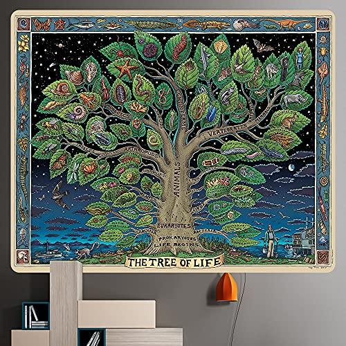 Misterioso árbol de la vida tapiz manta Mandala fondo psicodélico tela colgante de pared tapiz decorativo bohemio A5 150X200CM