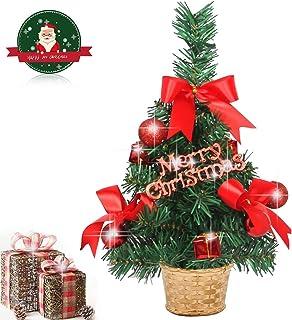 EAHUHO - Mini Tablero de Pino, árbol de Navidad, 30 cm de Alto, decoración de Oficina para el hogar, con 14 Unidades, decoración de Navidad, Adornos en Cesta, árbol Festivo para decoración de Navidad