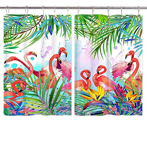 Watercolor Summer Nature Flamingo in Tropical Flowers Leave Kitchen Window Curtains, Palm Leaf Curtains Panels, Kitchen Decorations Window Drapes, Pink Brid Window Treatment Sets with Hooks, 55X39in