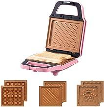 Sandwich compact Waffle Fer à gaufre avec revêtement antiadhésive détachable Panini Press Grill avec système thermostatiqu...