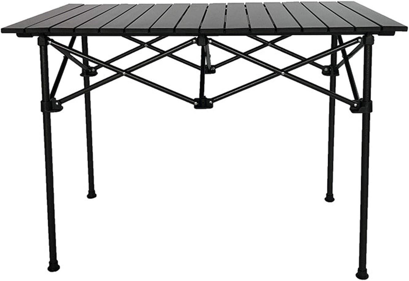 Mesa de Camping Plegable para Exteriores Mesa de Barbacoa de Aluminio portátil, Mesa de Comedor Ultraligera Enrollable, con Bolsa de Transporte,70×70×70
