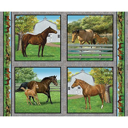 Horse Pillow Panel Summer Horse Fabric by The Panel