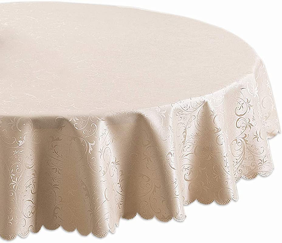 Youta 70 Inch Round Tablecloths Stain Resistant Table Cloth For Circular Table Cover In Washable Jacquard Polyster Champaign