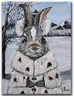 Snow Bunny Art Print, Rabbit Giclee Farmhouse Cute Animal Lover Nursery Wall Home Decor, Size Mat Option