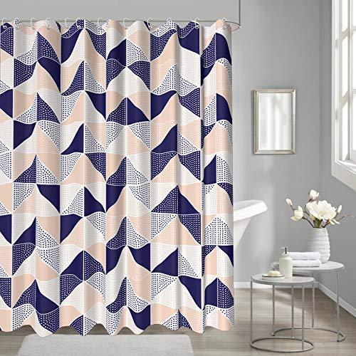 loyapobo Geometrie Duschvorhang Fischgrätenmuster Rosa & Indigo Dreieck für Badezimmer Vorhang Dekostoff