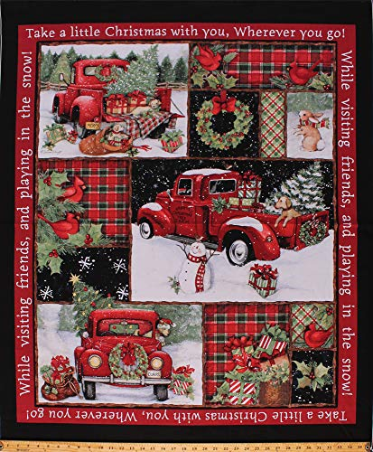 "36"" X 44"" Panel Red Trucks Presents Trees Bunnies Winter Holiday Collage Red Cotton Fabric Panel"