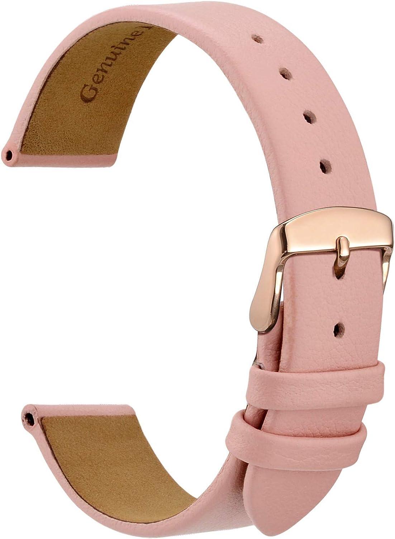WOCCI Elegantes Correas de Reloj, Correa de Repuesto de Cuero Genuino, Hebilla de Acero Inoxidable, 10mm 12mm 14mm 16mm 18mm 20mm