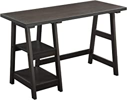 Convenience Concepts Designs2Go Trestle Desk with Shelves, Espresso