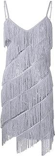 Women's Spaghetti Straps Tassels Sequin Fringe Flapper Dress Party Dancewear Night Mini Dress