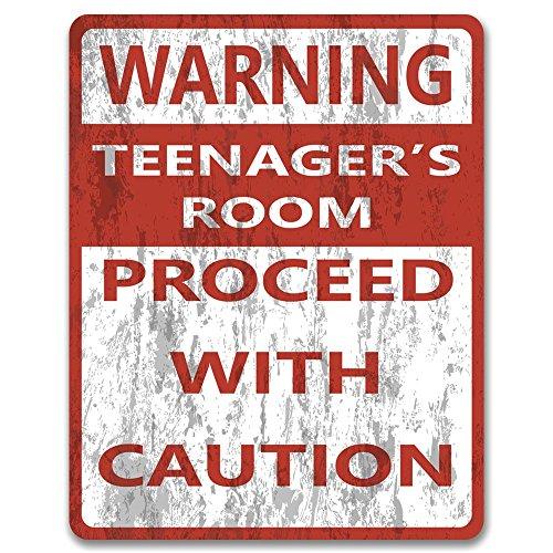 Stampa realizzata – Attenzione: camera da letto di adolescenti, procedere con caution – Targa in metallo vintage | segno divertente | decorazione della grotta uomo | camera da letto degli adolescenti
