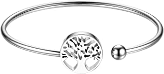 JewelryWe Cuff Bracelet with Classic Tree of Life Charm Open Cuff Bangle Bracelets for Women Girls
