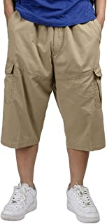 Panegy Mens Summer 3/4 Loose Fit Casual Work Pants Premium Twill Cargo Shorts