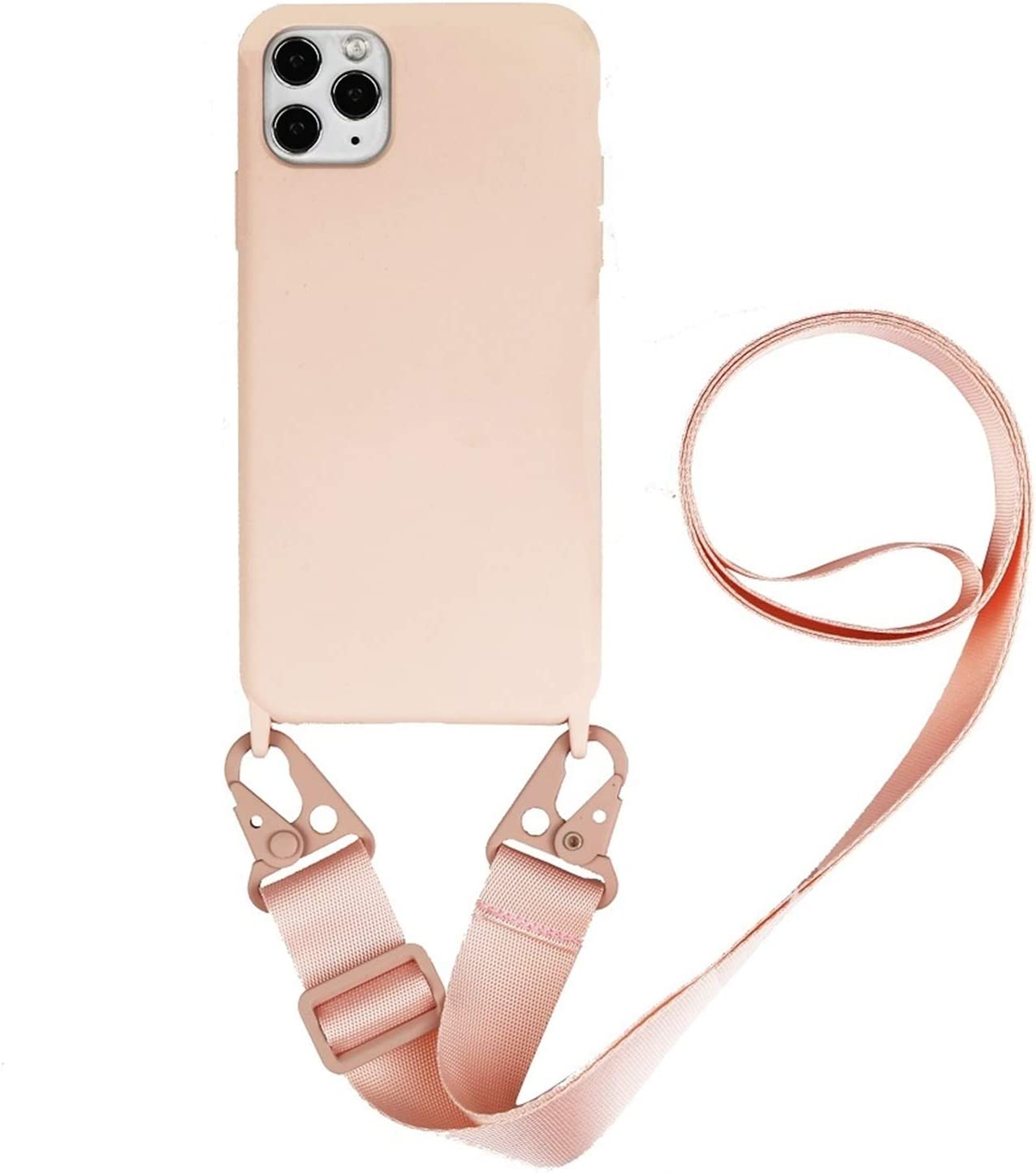 Zija Crossbody Necklace Holder Phone Case for iPhone 11 pro XS max Xr 6s 7 8 Plus Lanyard Silicone Case Cover with Cord Strap Rope (Color : Pink Strap, Material : for iPhone12 Mini)