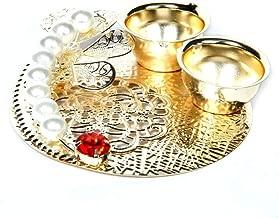 Itiha Pearl Floral Metal Haldi kumkum/Return Gift/Diwali Gift/Mehendi Gift/Diwali Gift-3.5 inches