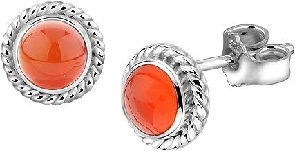 verschiedene Grössen Ohrstecker Ohrringe Silber 925 Karneol rot flach rund