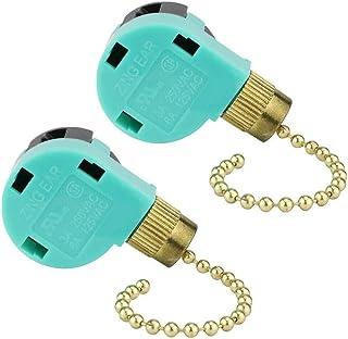 ZE-268S6 - Interruptor de cadena de 3 velocidades y 4 cables para ventilador de techo, control de luz de pared, 2 unidades