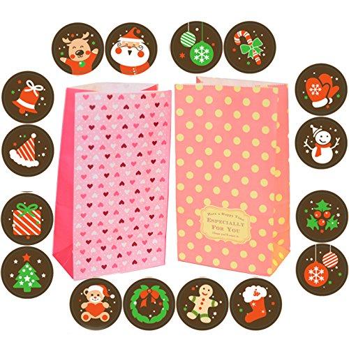 Miya ® jolies pochettes lot de 24 étiquettes cadeau-belle idée cadeau sachet x 23.5 x 13 7,5 cm, nourriture sac biscuit gâteau pâtisserie emballage cupcake, sacs, bonbons, emballage sac cadeau dIY, couleur orange et rouge avec punktchen