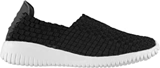 Fabric Flyer Slip On Shoes Womens Black Athleisure Trainers Sneakers Footwear