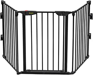 Bonnlo 73-Inch Configurable Walk-Through Baby Safety Gate Adjustable Metal Barrier/Fence for Toddler/Pet/Dog/Cat/Puppy – Ideal for Openings/Stairs/Doorways (25.39
