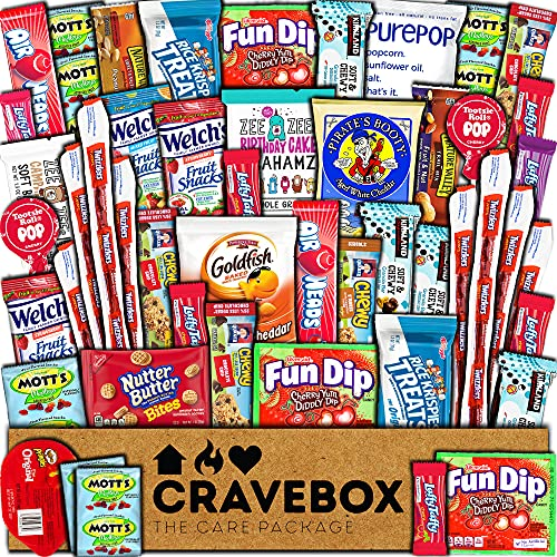 CraveBox Care Package (50 Count) Snacks Food Cookies Chocolate Bar Chips Candy Variety Gift Box Pack Assortment Basket Bundle Mix Bulk Sampler Treat College Students Final Exam Office Father's Day