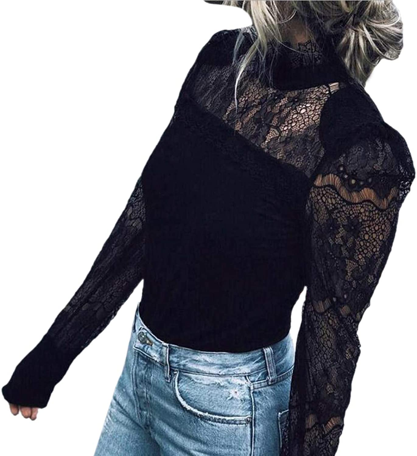Flextiicinax Floral Lace Patchwork Sheer Mock Neck Shirt Bodycon Long Sleeve Women Blouse