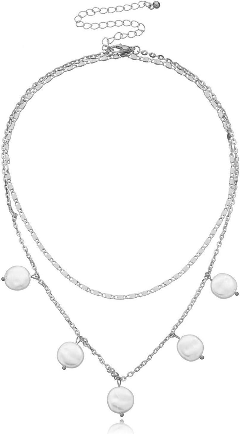 N/A Collar Colgante Collar con Colgante de Perlas Elegante Collar de múltiples Capas de Cadena Simple Regalo de cumpleaños de Navidad