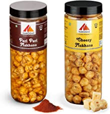 Nakodas Roasted Makhana Combo - Peri Peri, Roasted Cheesy Fox Nuts (70gm Each, Pack of 2)