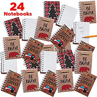 Mr. E=mc2 24 Woodland Camping Adventure Notepads for Kids and Adults | Camp Party Decorations, Bulk Party Favors, Classroom Supplies, Woodland Animal Goody Bag Fillers