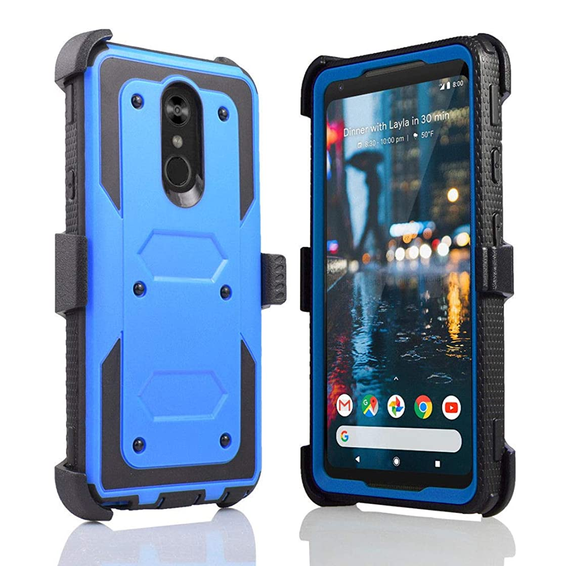 Compatible fit LG Stylo 4, Stylus 4, LG Q Stylo 4 (Q710) 2018 (Metro PCS, T-Mobile, Cricket etc) Full Body Rugged Holster Explorer Armor Case with Belt Clip & Built in Screen Protector (Blue)