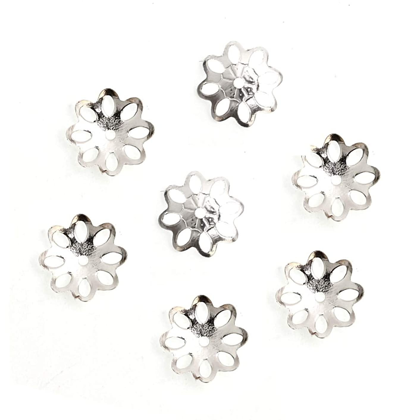20pcs x Sterling Silver 8mm Flowery Round Bead Caps for Jewelry Craft Making Findings SS120