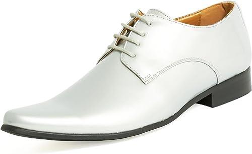 Dobell Homme Chaussures Habillées Contemporaines Argent Vernies Vernies