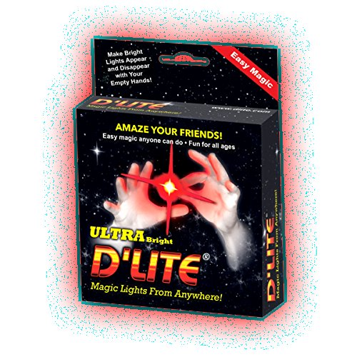 D'lite Regular Red Lightup Magic - Thumbs Set / 2 Original Amazing Ultra Bright Light - Closeup & Stage Magic Tricks - Easy Illusion Anyone Can Do It - See Box for Free Training / Routine Videos