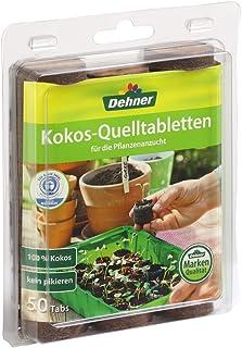 Dehner Kokos-Quelltabletten mit Nährstoff-Mix, zur Anzucht von Stecklingen, Sämlingen und Saaten, Durchmesser 38 mm, 50 Stück