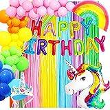 Decoración Cumpleaños Unicornio-Globos Unicornio para Fiesta Cumpleaños Niña y Mujer,Multicolor-Tematica Arcoíris