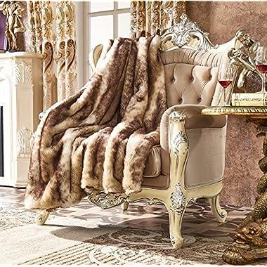 Lindsey Home Fashion Faux Fur Throw, Fur Blankets Super Soft Japanese Kanekalon Fiber, Sheepskin, Mink, Wolf, Bear, 60 x80 , 60 x70 , 50 x60  14 Colors (60x70(INCH), Purple Lynx Faux fur)