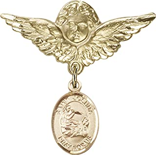 14kt Gold Filled Baby Badge with St. Joshua Charm and Angel w/Wings Badge Pin St. Joshua is the Patron Saint of Those Named Joshua 1 1/8 X 1 1/8