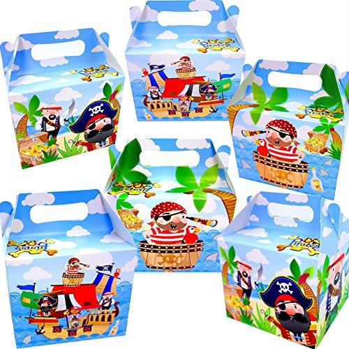 German Trendseller® - 6 x Cajas Pirata de cumpleaños ┃con ASO para llenar ┃para Regalo ┃Fiestas Infantiles┃ Idea de Regalo┃cumpleaños de niños┃ 6 Unidades