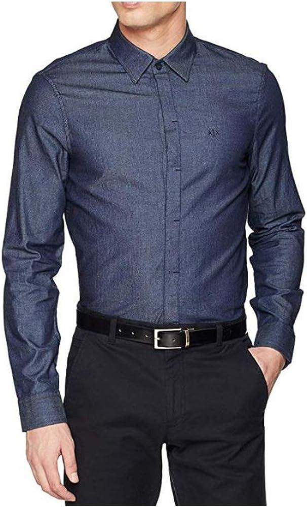 Armani exchange denim logo, camicia da uomo, 100% cotone 8NZCBCZ8BCZ