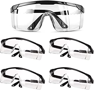 TXIN 4 Pieces Clear Protective Glasses Spectacles, Eyewear Protective Safety Glasses for Women Men Work & Daily Life Indoor Outdoor Laboratory, Safety Goggles Eye Protection Glasses