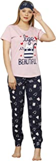 Boyraz Women's Sleepwear T-Shirt and Pants Cotton Pajama Set with Eye Mask