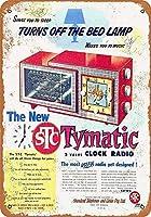タイヤクロックラジオ-錫サインビンテージノベルティ面白い鉄塗装金属板