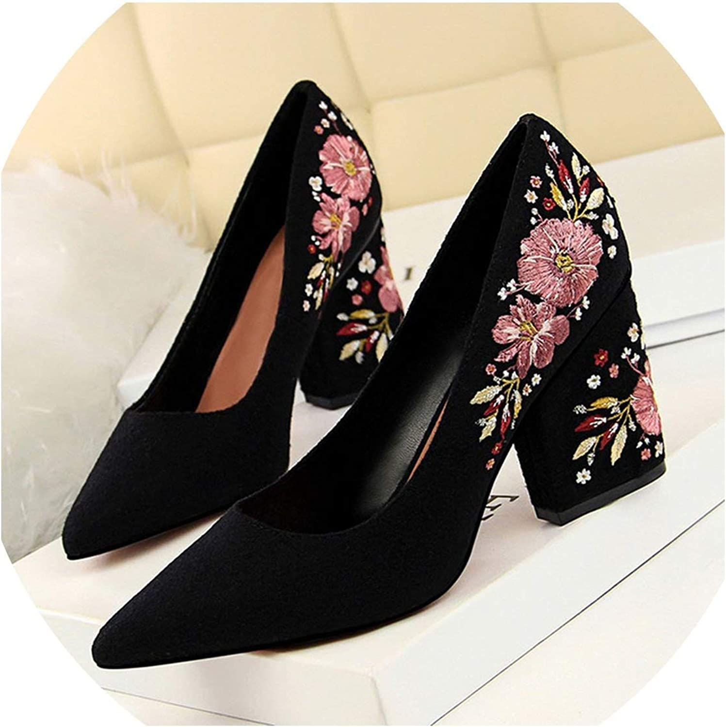 YP-fashion Flower Embroidery Women High Heel shoes 2019 Spring Women Pumps