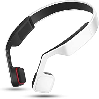 YWYU Open Ear Wireless Bone Conduction Headphones, Bluetooth V4.2 Earphones Wireless Sports Headset Built-in Mic Sweatproof for iPhone, Android, All Other Bluetooth Enabled Devices (Color : White)