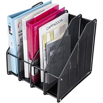 Magazine File Holder, 4-Section Metal Durable Sturdy Document Book Desk Organizer for Office Warehouse Home, Mesh Box Design - Black