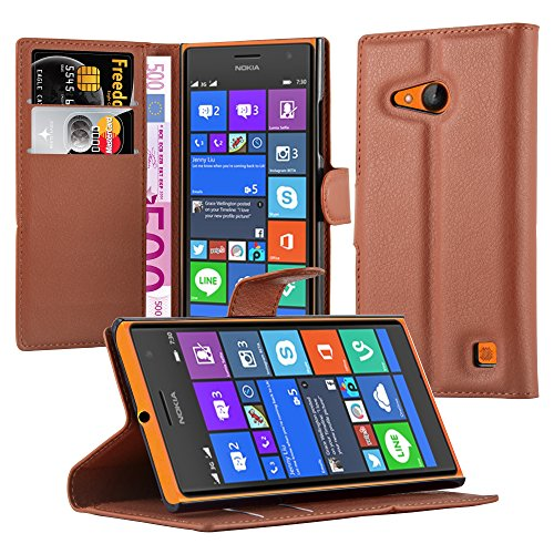 Cadorabo Hülle für Nokia Lumia 730 in Schoko BRAUN - Handyhülle mit Magnetverschluss, Standfunktion & Kartenfach - Hülle Cover Schutzhülle Etui Tasche Book Klapp Style