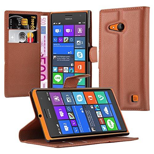 Cadorabo Hülle für Nokia Lumia 730 - Hülle in Schoko BRAUN – Handyhülle mit Kartenfach & Standfunktion - Case Cover Schutzhülle Etui Tasche Book Klapp Style