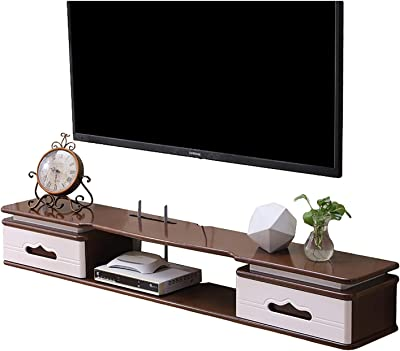 TV Cabinet, TV Lowboard, Floating Shelves, Floating TV Stand Component Shelf, Natural Pine Wood/Piano Paint Coating, 47.2/59 inch Wall Mounted Media Console, Easy to Install.