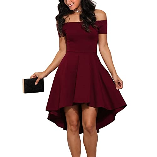 387c38fffb0 Mypuffgirl Women s Off The Shoulder Casual Skater Cocktail Party Dress High  Low Skirt